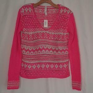 Aeropostale Neon Pink Fair Isle Sweater NWT Sz S